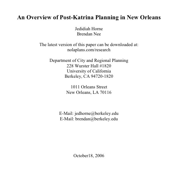 Planning in New Orleans: A First Draft